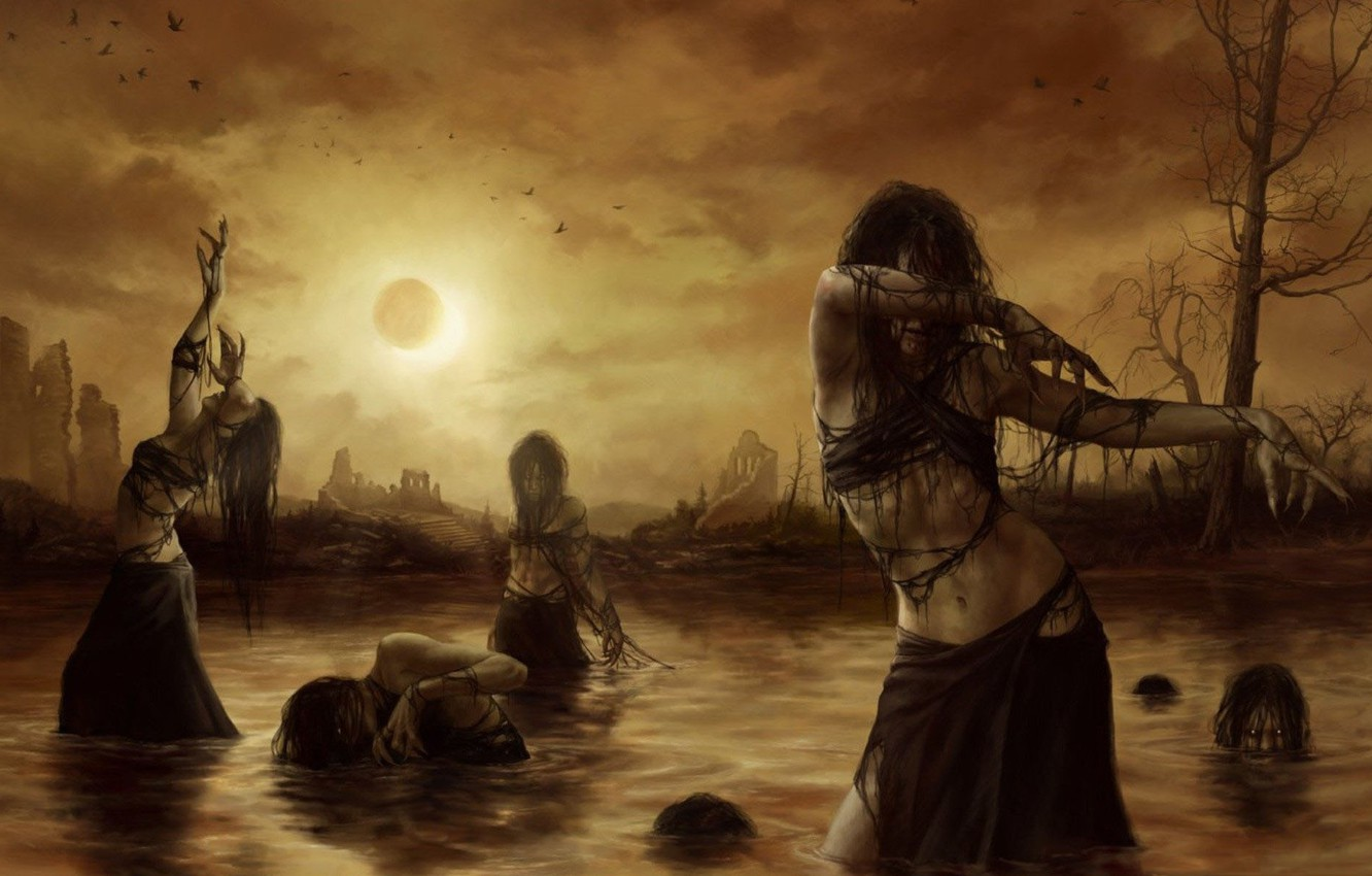 Photo wallpaper water, birds, Eclipse, ruins, witches, awakening, witches, the uprising