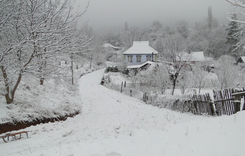 Photo wallpaper winter, Kuban, the village, Akela White, Krasnodar Krai