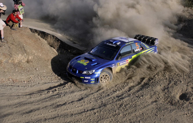 Photo wallpaper Auto, Blue, Dust, Subaru, Sport, Machine, Turn, Race, Skid, rally, impreza, wrc