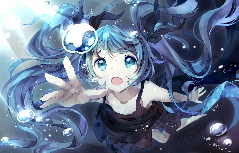 Photo wallpaper girl, light, bubbles, anime, art, vocaloid, hatsune miku, under water, bison bison