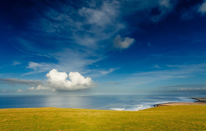 Photo wallpaper sea, the sky, clouds, shore