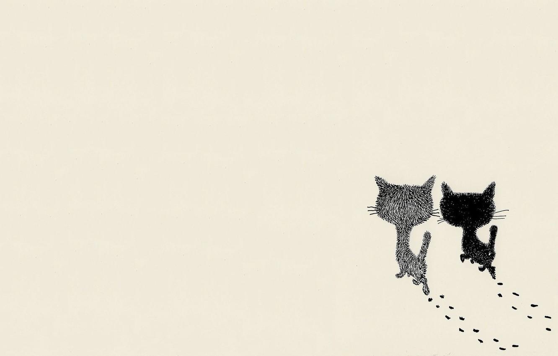 Wallpaper Cat Art Pair Walk Images For Desktop Section Minimalizm Download