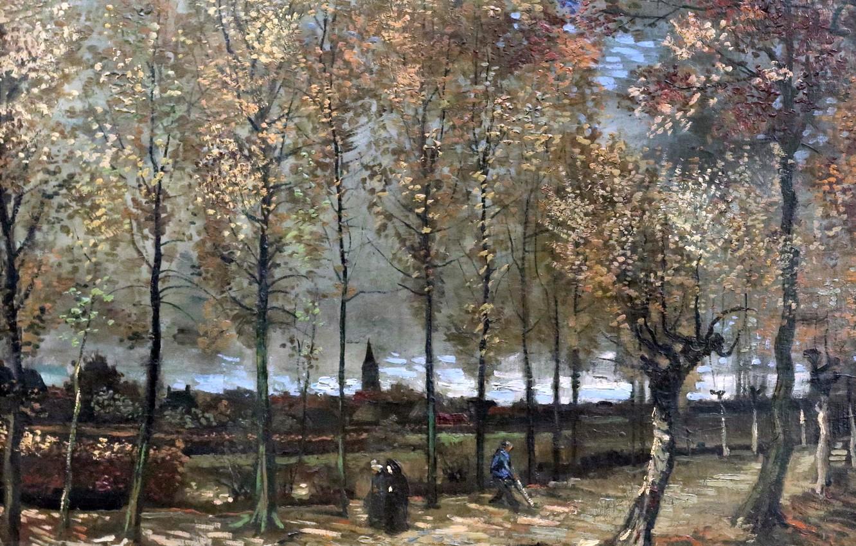 Photo wallpaper picture, Paris, Rotterdam, Vincent Van Gogh, 1885, Poplars near Nuenen
