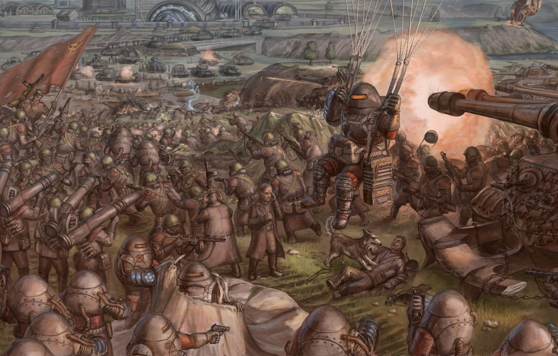 Photo wallpaper war, soldiers, armor, tanks, Red alert 2