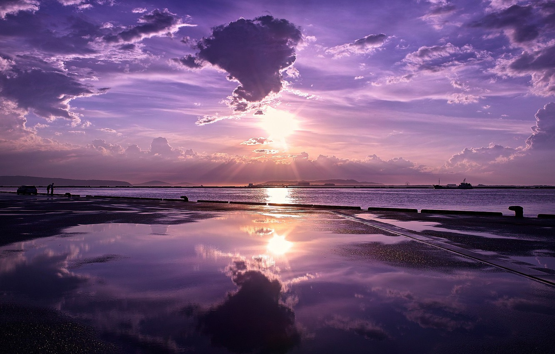 Photo wallpaper SEA, WATER, MOUNTAINS, MARINA, HORIZON, The OCEAN, The SKY, CLOUDS, SHIPS, REFLECTION, PIER, PIERCE, SUNSET, …