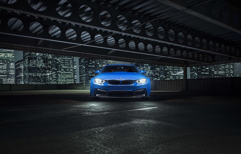 Photo wallpaper BMW, City, Blue, Front, Vorsteiner, Widebody, Photoshoot, Nigth, GTRS4