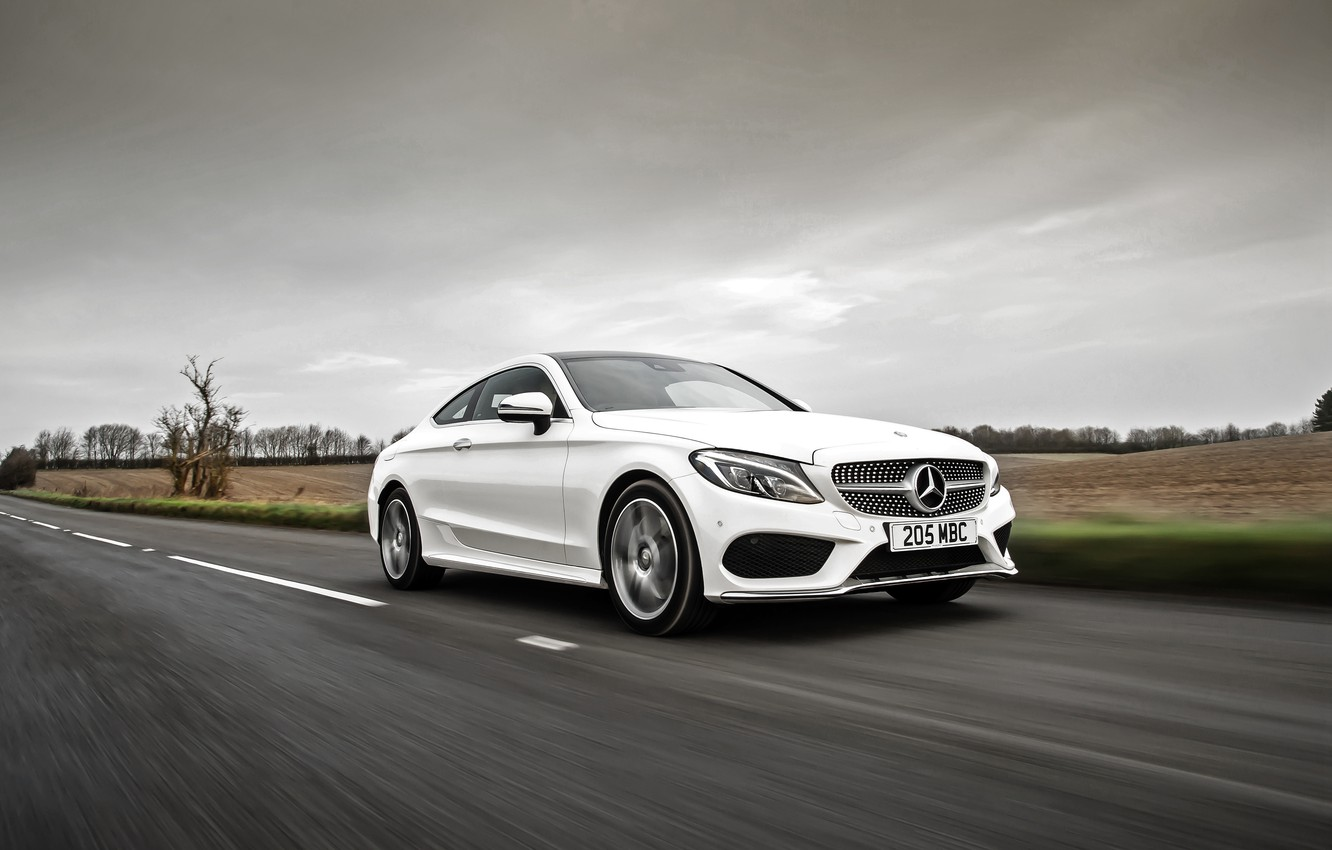 Photo wallpaper white, Mercedes-Benz, Mercedes, AMG, Coupe, C-Class, C205