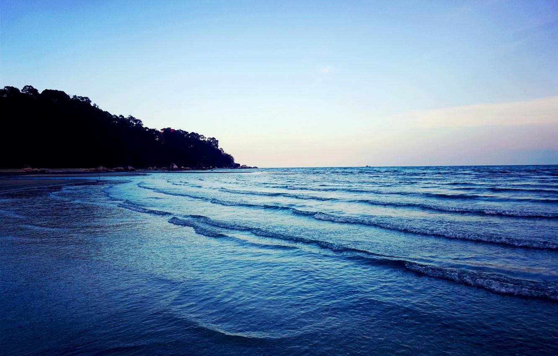 Photo wallpaper light, sea, blue, view, malaysia, magnificent, kuantan