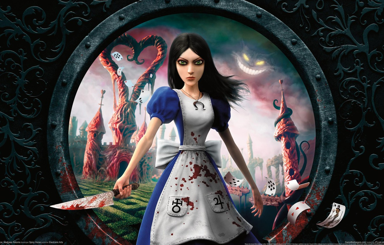 Photo wallpaper card, blood, Alice, knife, Alice Madness Returns