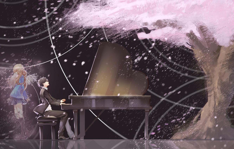 Photo wallpaper girl, tree, anime, petals, Sakura, piano, art, guy, miyazono kaori, arima kousek, shigatsu wa kimi …