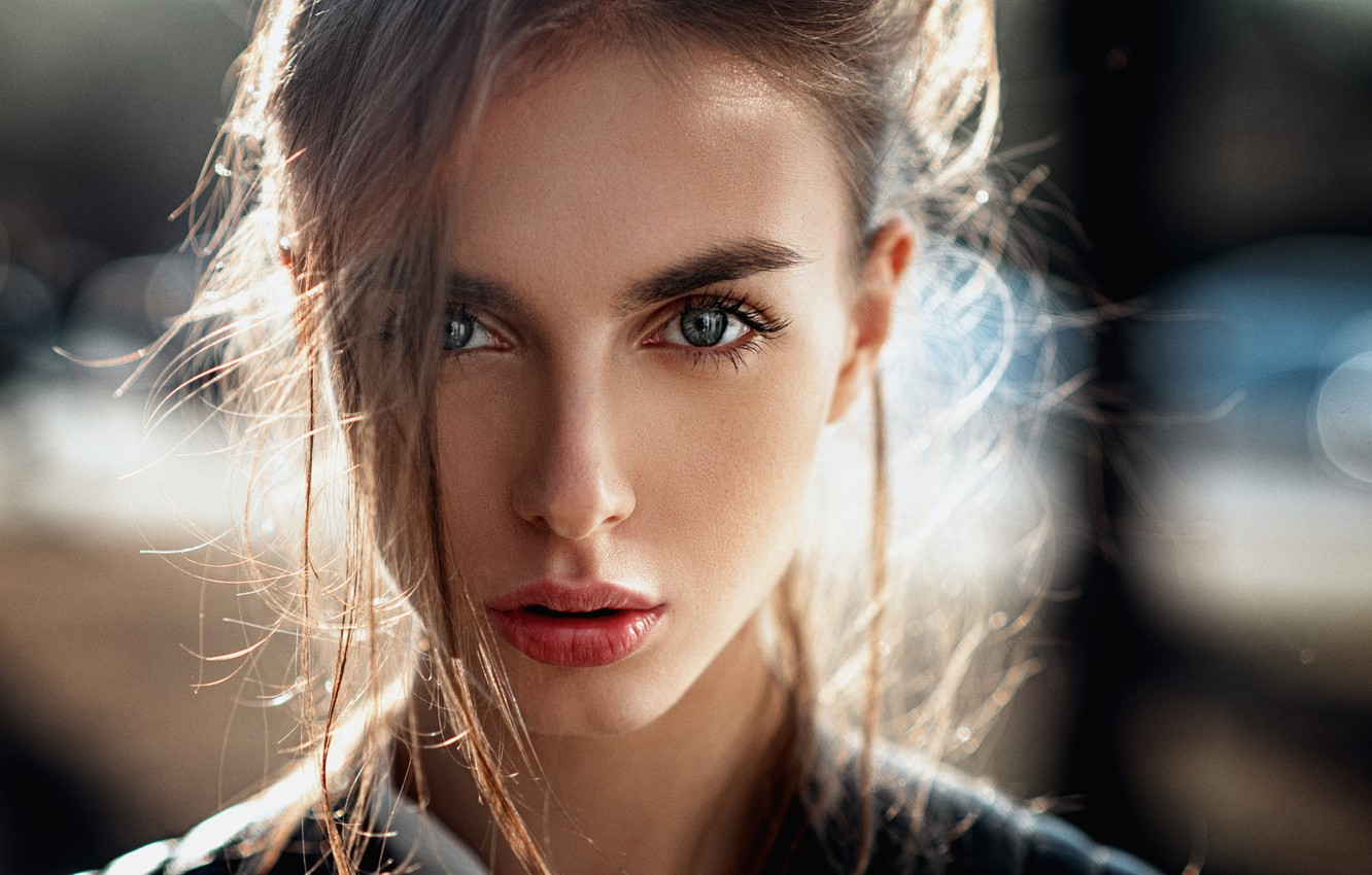 Photo wallpaper girl, face, glare, sweetheart, model, portrait, makeup, hairstyle, light, brown hair, beautiful, blue-eyed, beauty, chic, …