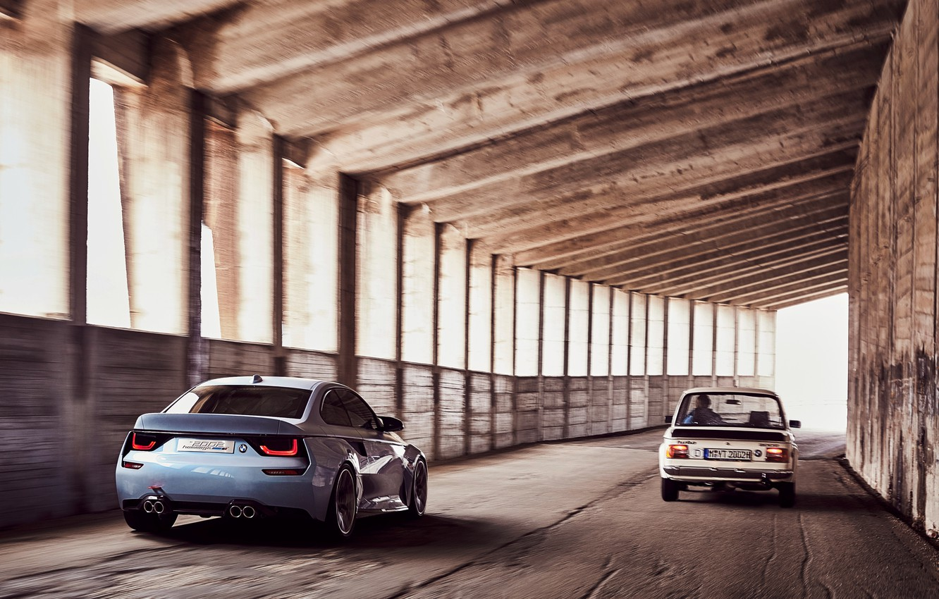 Photo wallpaper Concept, BMW, wallpaper, road, cars, auto, and, 2002, Hommage, 02 Series, spped