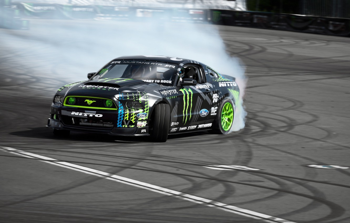 Photo wallpaper Mustang, Ford, Ford, Mustang, Drift, Drift, Monster, RTR, Formula Drift, Energy, Vaughn Gittin Jr