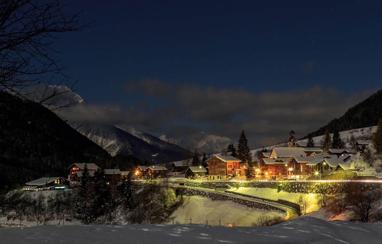 Photo wallpaper winter, forest, snow, trees, mountains, night, lights, home, Switzerland, town, Goms, Blitzingen