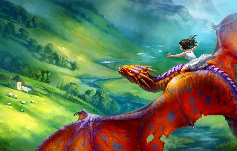 Photo wallpaper flight, red, fiction, dragon, art, girl
