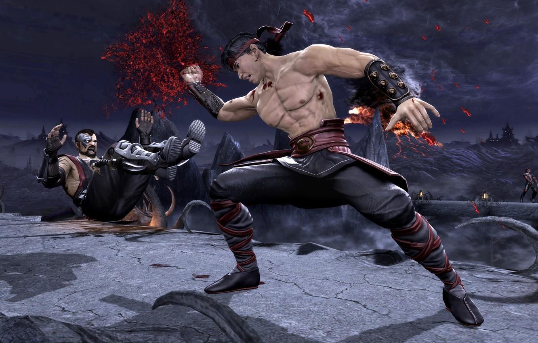 Photo wallpaper blow, Mortal Kombat, Liu Kang, got, Komplete Edition, Kano