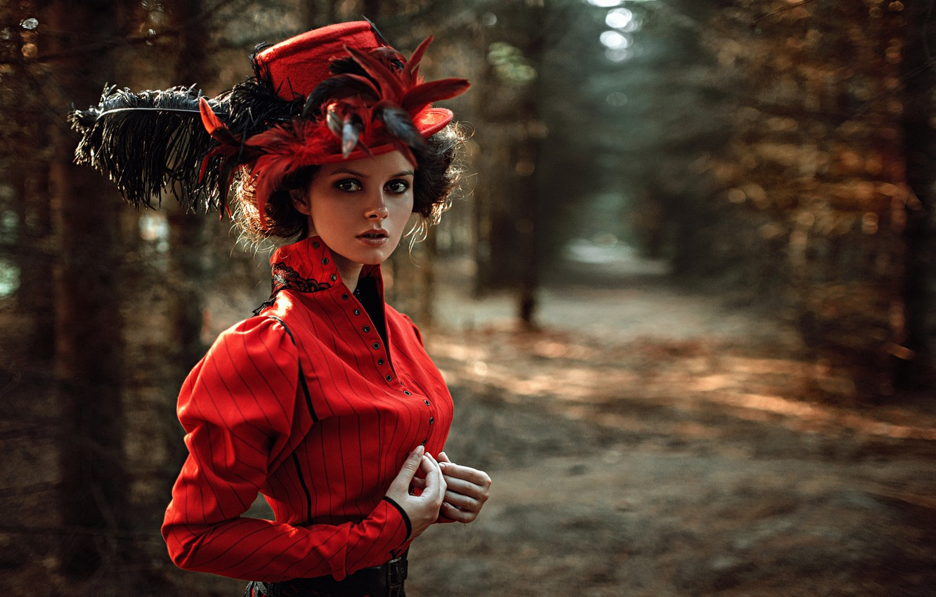 Photo wallpaper look, girl, face, Park, portrait, hat, feathers, dress, hairstyle, light, the beauty, nature, sunset, art, …