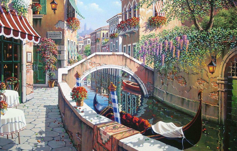 Photo wallpaper summer, flowers, Italy, Venice, channel, San Marco, painting, Italy, gondola, painting, Venice, Bob Pejman, the …