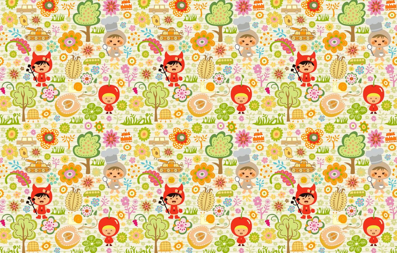 Photo wallpaper trees, children, toys, children, Apple, costumes