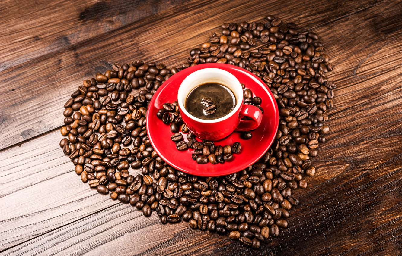 Photo wallpaper heart, coffee, grain, Cup, red, saucer