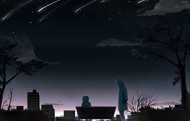 Photo wallpaper the sky, girl, stars, bench, guy