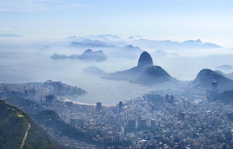 Photo wallpaper the city, haze, Rio de Janeiro, Rio de Janeiro