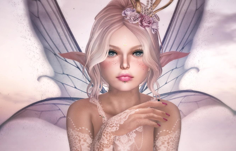 Photo wallpaper flowers, elf, wings, fairy