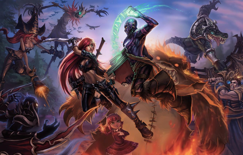 Photo wallpaper weapons, magic, art, battle, League of Legends, knock sausage