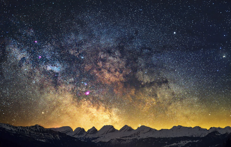 Photo wallpaper sky, winter, mountains, snow, stars, Milky Way, mystery
