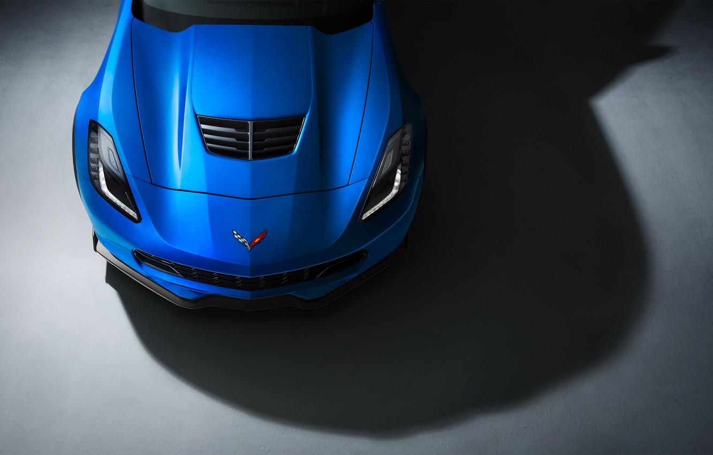 Photo wallpaper Z06, Corvette, Chevrolet, Muscle, Car, Blue, Front, Color, Studio, Ligth