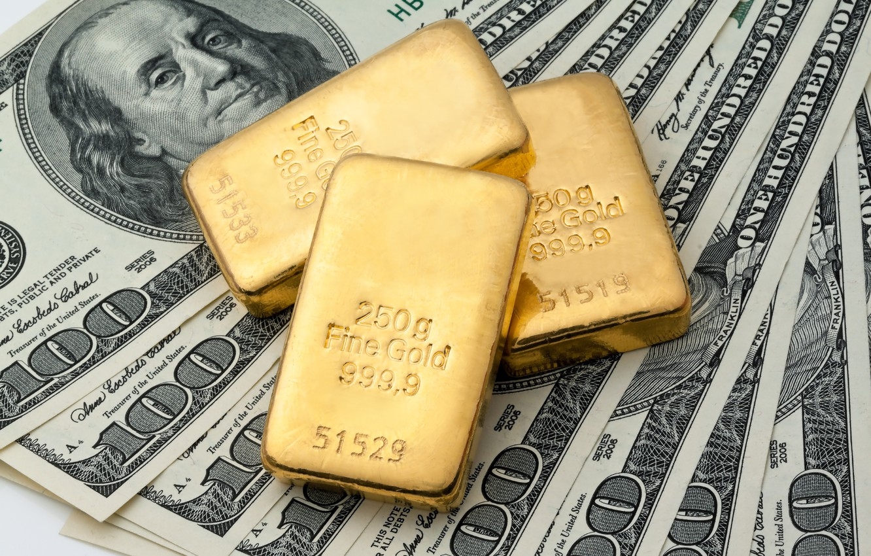 Photo wallpaper metal, gold, money