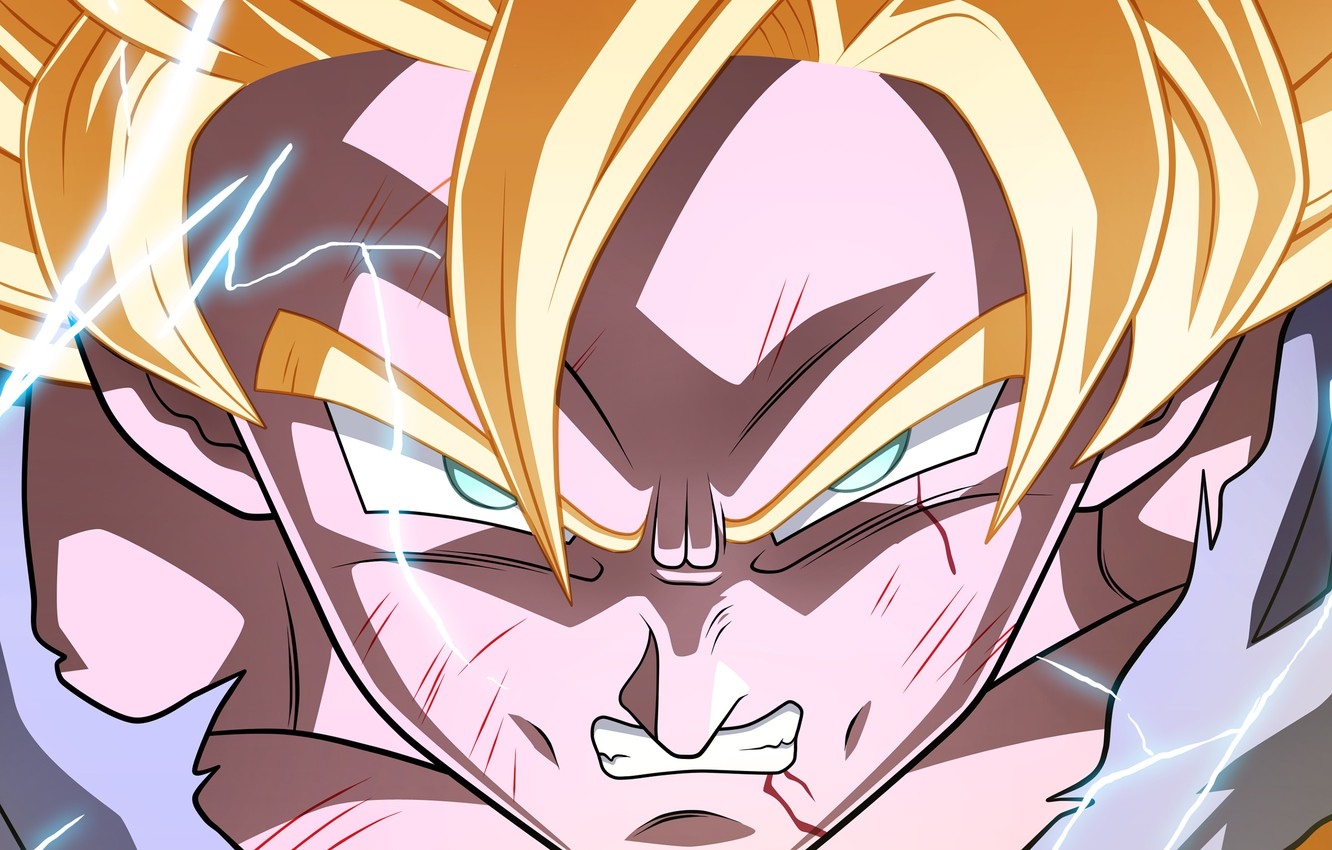 Wallpaper Power Blue Eyes Blonde Shadows Lighting Angry Goku