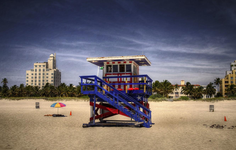 Photo wallpaper beach, summer, garbage, people, solar, lifeguard, beach umbrella