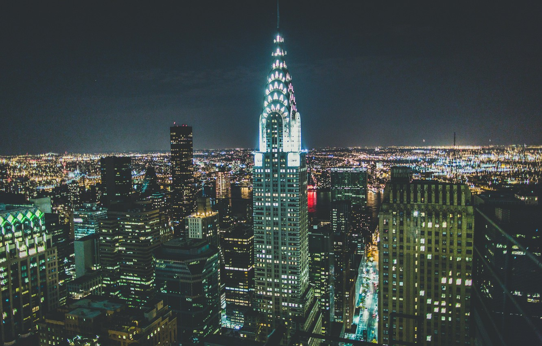 Wallpaper Usa Skyline Night Manhattan Nyc New York City