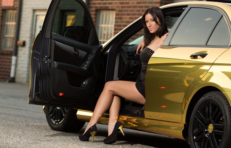 Photo wallpaper girl, brunette, girl, gold, gold, mercedes benz, brunette, Mercedes Benz, C class