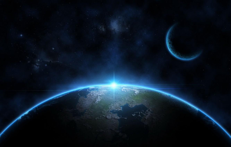 Wallpaper Light Blue Stars Planets Images For Desktop Section