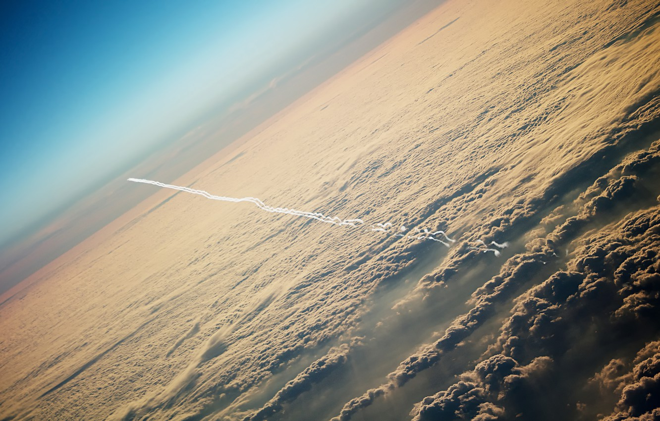 Photo wallpaper the sky, clouds, the plane, trail, height