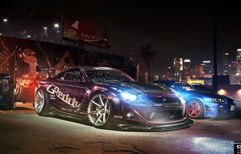 Photo wallpaper tuning, photoshop, GTR, Nissan