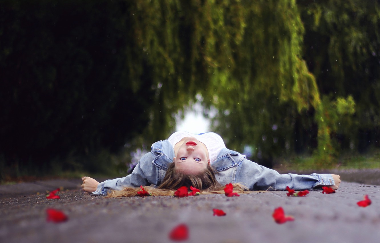 Photo wallpaper road, girl, flowers, the situation
