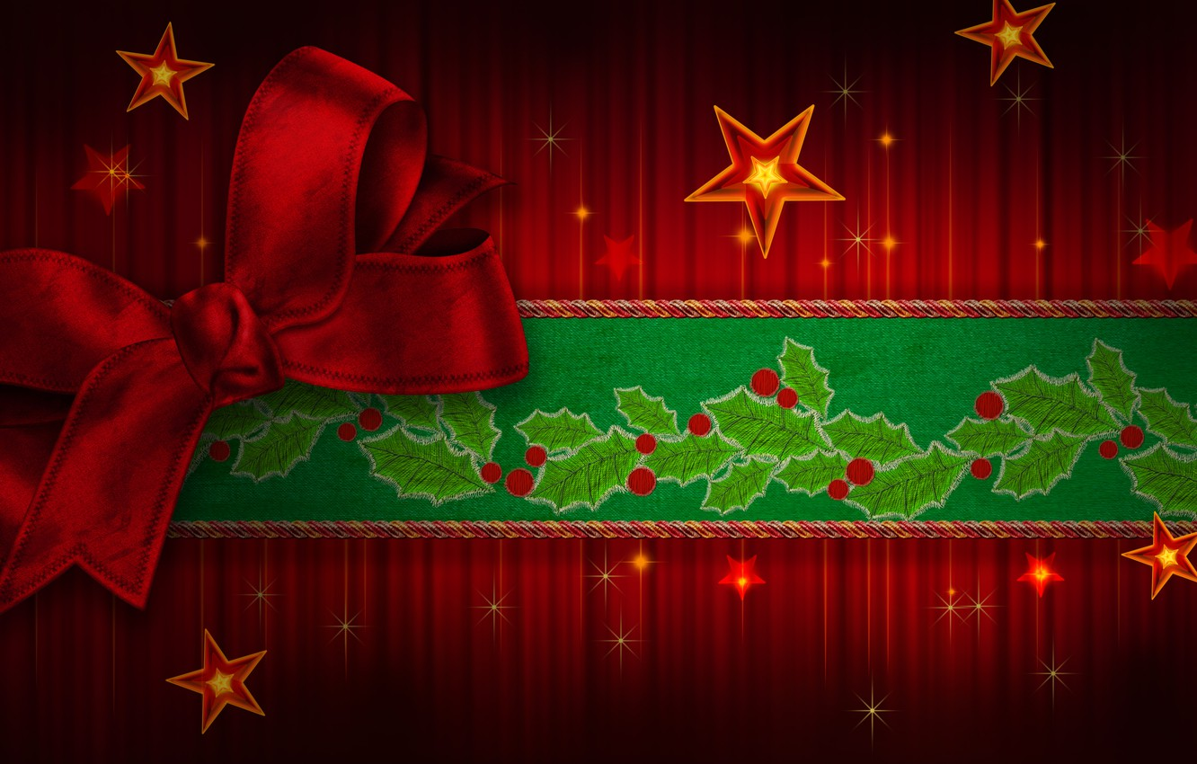 Photo wallpaper color, stars, green, tape, green, sweetheart, beauty, colors, colorful, Christmas, red, beautiful, star, Happy New …
