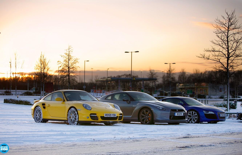 Photo wallpaper winter, the sky, snow, sunset, audi, 911, nissan, porsche, gt-r, top gear, the front, supercars, …