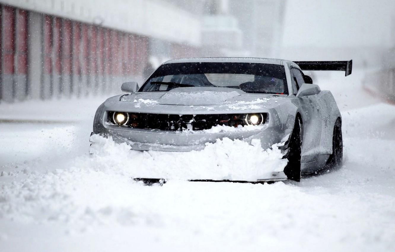 Photo wallpaper Winter, Chevrolet, Snow, Camaro, Camaro, Beautiful, Car, Car, Winter, Snow, Wallpapers, Wallpaper, ZL1, The front, …