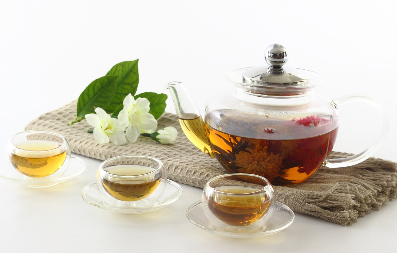 Photo wallpaper flowers, tea, kettle, Cup, Chinese, Jasmine, knitted, bowls