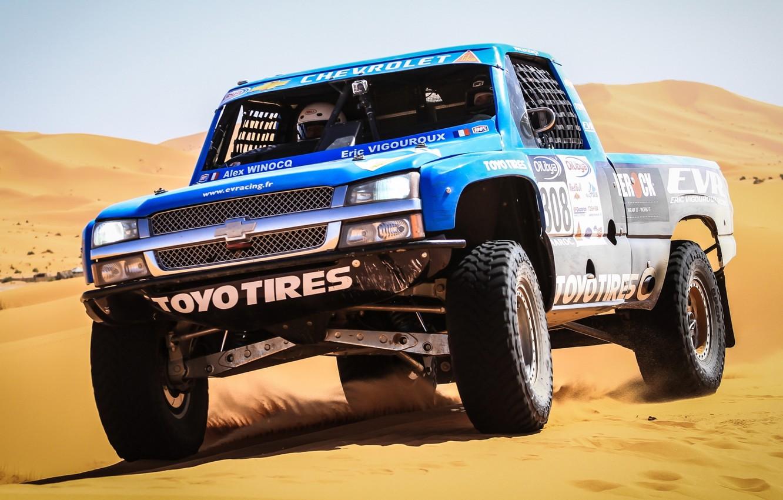 Photo wallpaper sand, Chevrolet, Chevrolet, pickup, the front, racing car, Silverado, Silverado, Trophy Truck
