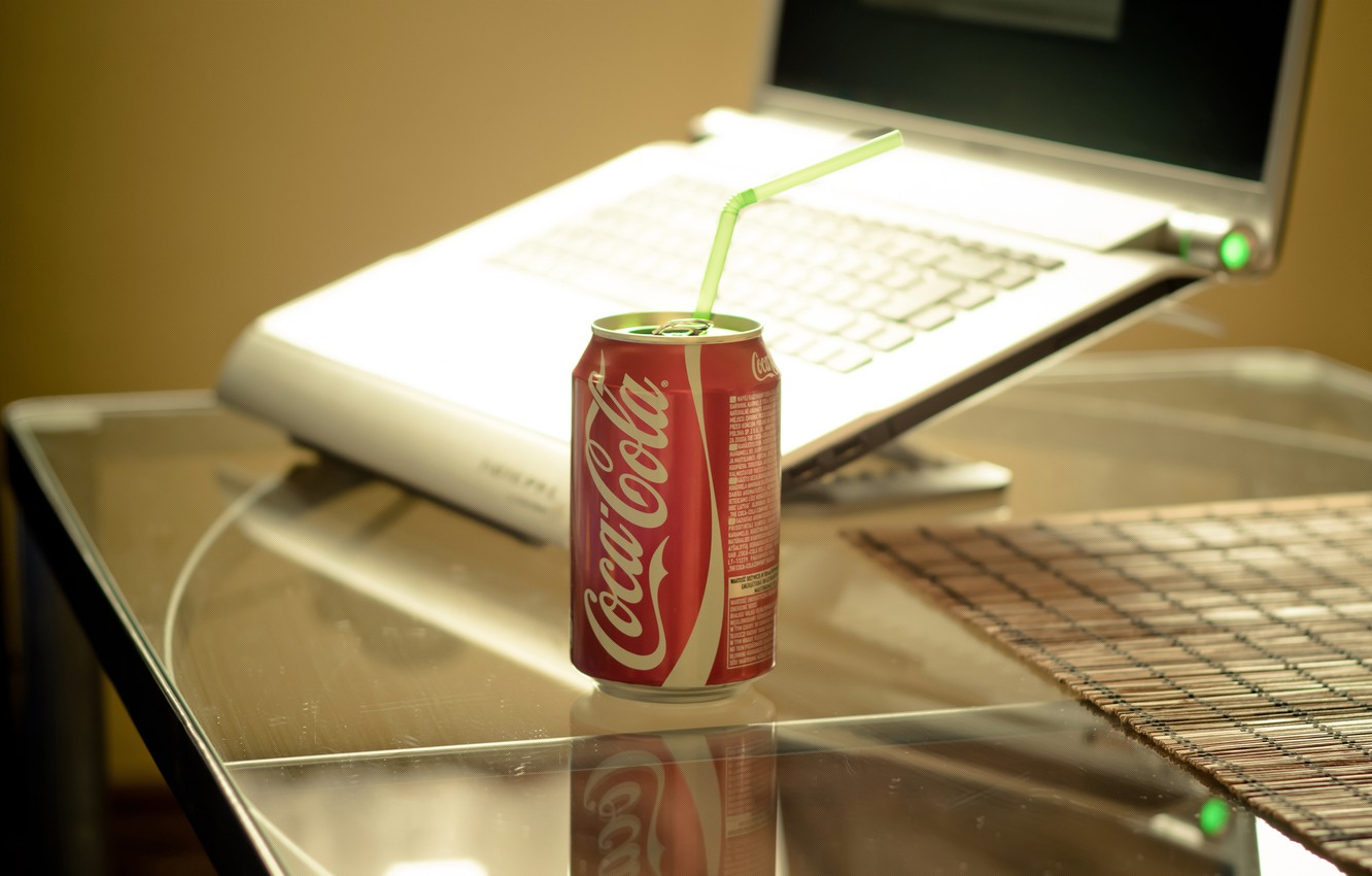 Photo wallpaper style, table, laptop, drink, coca-cola, style, notebook, Stelco