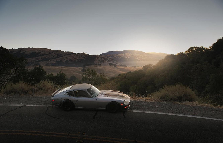 Photo wallpaper sunset, 240z, roadside