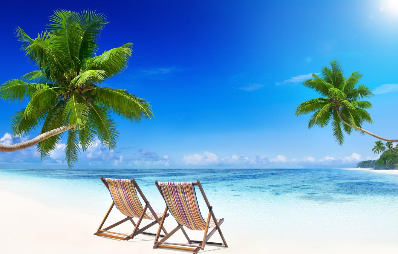 Photo wallpaper sand, sea, beach, the sun, tropics, palm trees, the ocean, shore, island, summer, beach, sea, ...