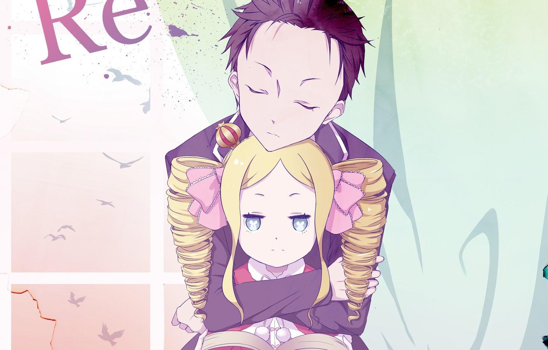 Photo wallpaper anime, art, girl, Subaru, hugs, Re: Zero kara hajime chip isek or Seikatsu, From scratch