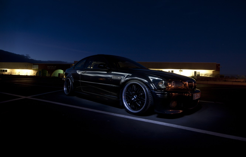 Photo wallpaper night, tuning, BMW, BMW, black, black, tuning, E46