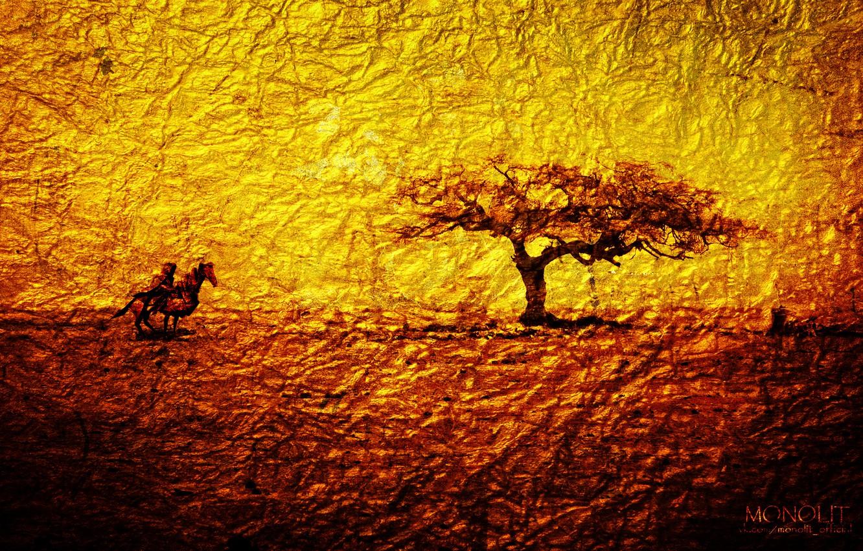 Photo wallpaper abstraction, gold, tree, warrior, tree, monolith, warrior, Gold, epic, monolit